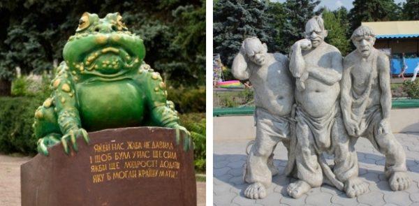 Памятники украинской жабе и украинским казакам в Голой Пристани